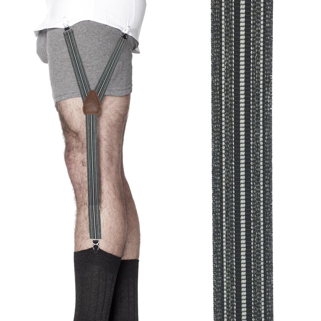 KK & Jay Supply Co. Shirttail Garters - Striped Shirt Stays (Heather Grey)