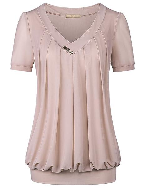 Amazon.com: Miusey blusa de malla frontal plisada con cuello ...