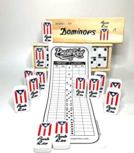 Puerto Rico Double Six (Doble SEIS) Classic Ivory Domino Tiles Set with Puerto Rican Flag, 28 Pieces in Wooden Box and Game's Instructions