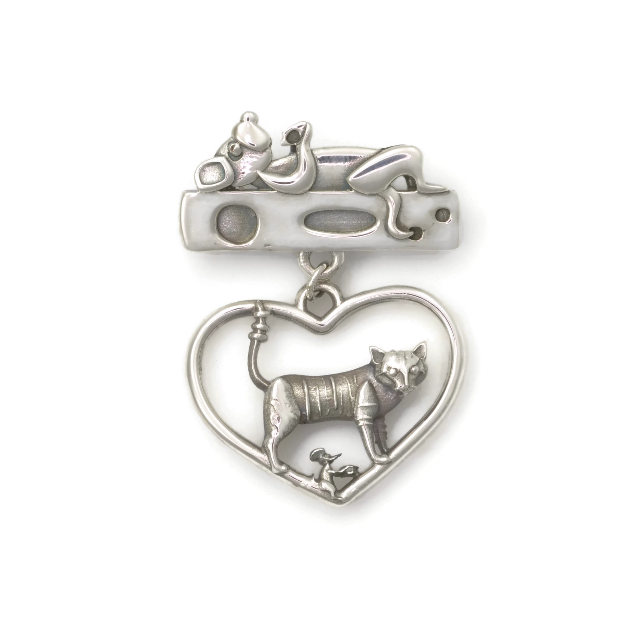 Sterling Silver Cat Brooch, Silver Tabby Cat Pin by Donna Pizarro fr her Animal Whimsey Collection of Fine Jewelry