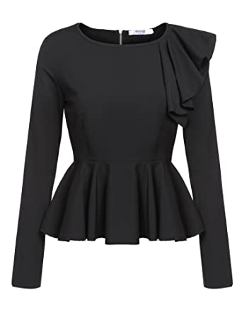dac086b73a59e4 Meaneor Women's Ruffles Peplum Long Sleeve Dressy Blouse Tops For Petite