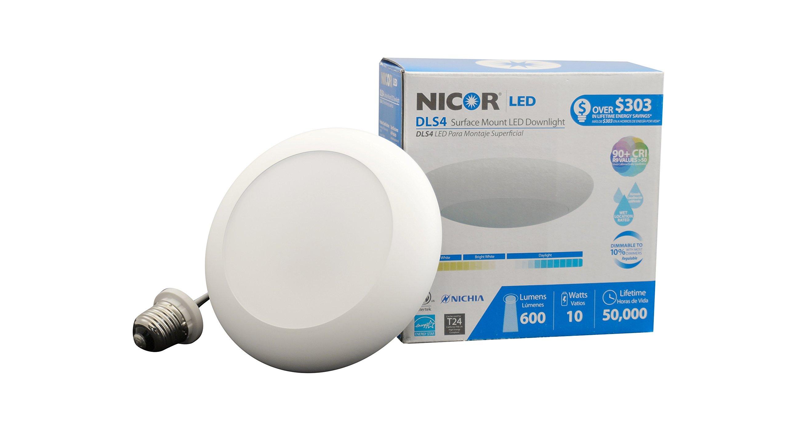 NICOR Lighting Dimmable Surface Mount 3000K LED Downlight Kit for 4-Inch Housings, White Trim (DLS4-2006-120-3K-WH)
