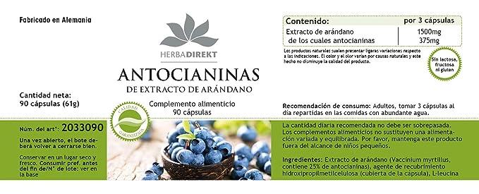 Antocianinas de extracto de árandanos - Herbadirekt - 90 comprimidos: Amazon.es: Salud y cuidado personal
