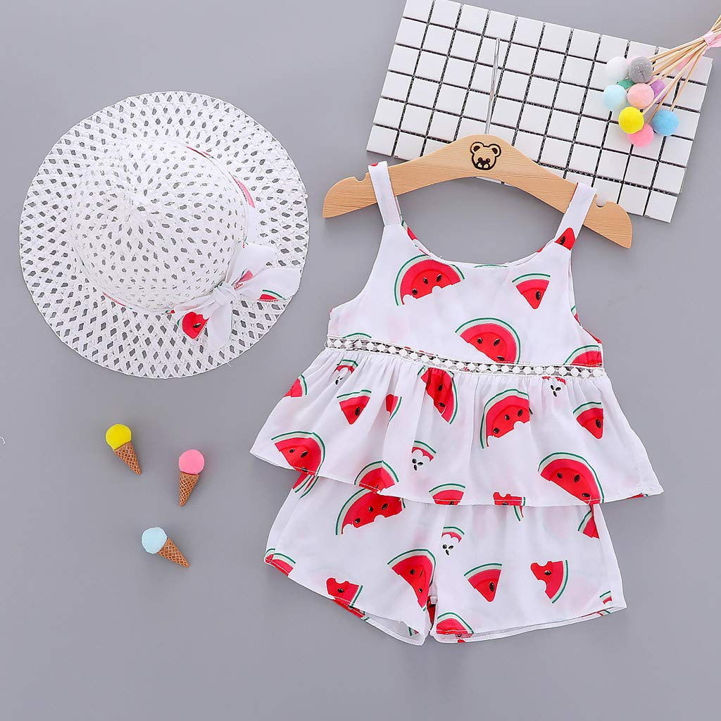 3pcs Toddler Baby Girl Princess Outfit Set Summer Strap Ruched Watermelon Print Shirt Tops Shorts Pants Visor Sun Hat Watermelon, 18-24M