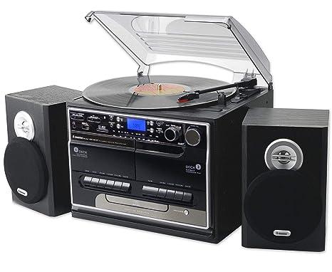 Steepletone Smc386r Bt 8 In 1 Retro Music System Bluetooth 3 Speed Record Turntable Cd Player Fmmw Radio Playbackrecording Usb Sticksd Card