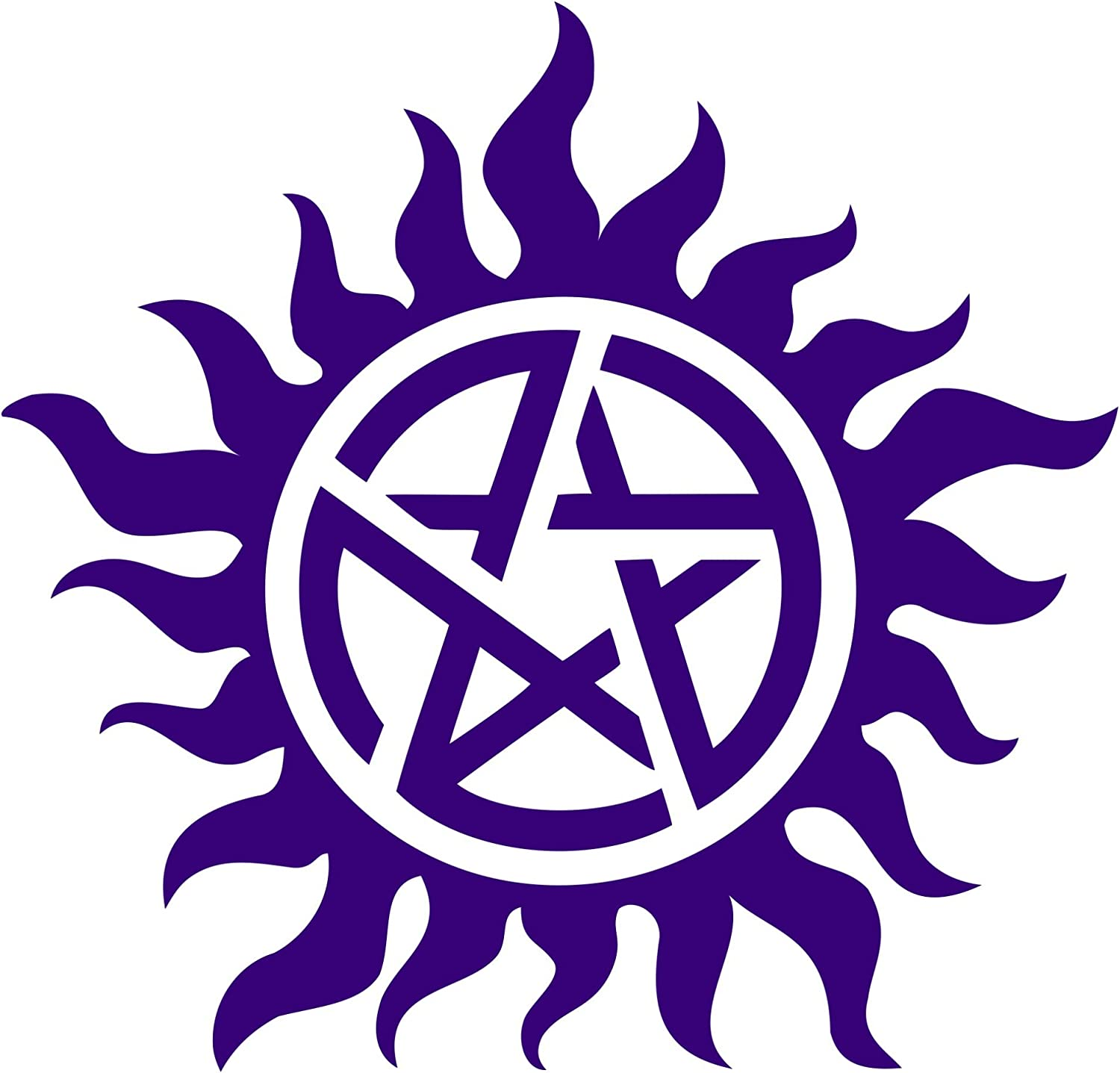 Supernatural die cut Vinyl Decal sticker Approx Anti-Posession Symbol dark purple 5 inches