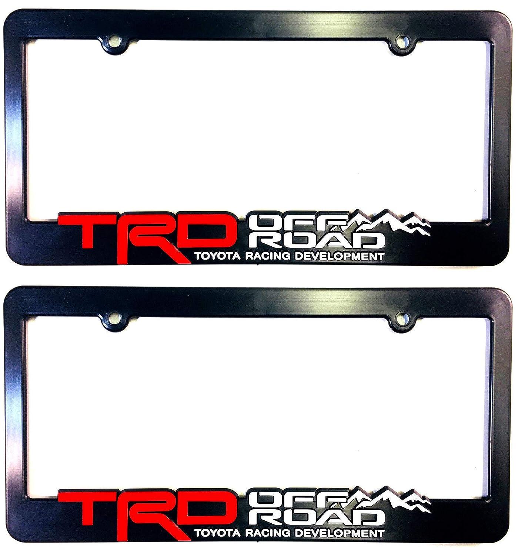 TRD OFF ROAD (2) License Plate Frames Toyota Racing Development 3D Letter Frame Brackets (1-Pair) Custom Car Gear