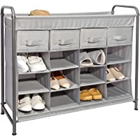JustRoomy 16 Cubby Home Storage Organizer with 4 Drawers Shoe Rack & 16 Compartment Storage bin
