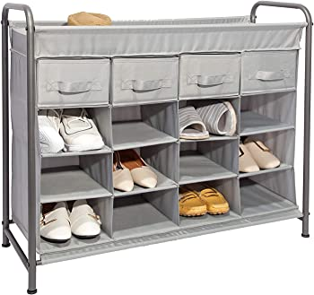 JustRoomy 16 Cubby Home Storage Organizer with 4 Drawers Shoe Rack