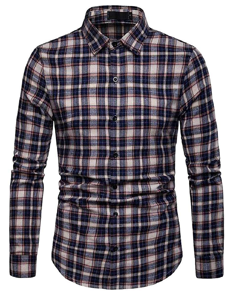 Xswsy XG Men Fashion Casual Long Sleeve Plaid Slim Fit Button Down Shirt Tops