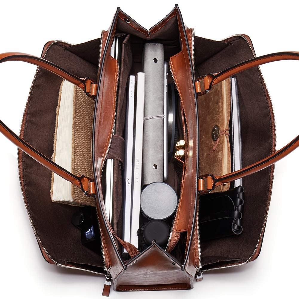BOSTANTEN Women Leather Briefcase Vintage Shoulder 15.6'' Laptop Tote Handbags Brown by BOSTANTEN (Image #3)