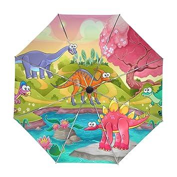 ALAZA Los Dinosaurios Divertidos Dibujos Animados Niños Viajes Paraguas de Apertura automática Cerca de Protección UV