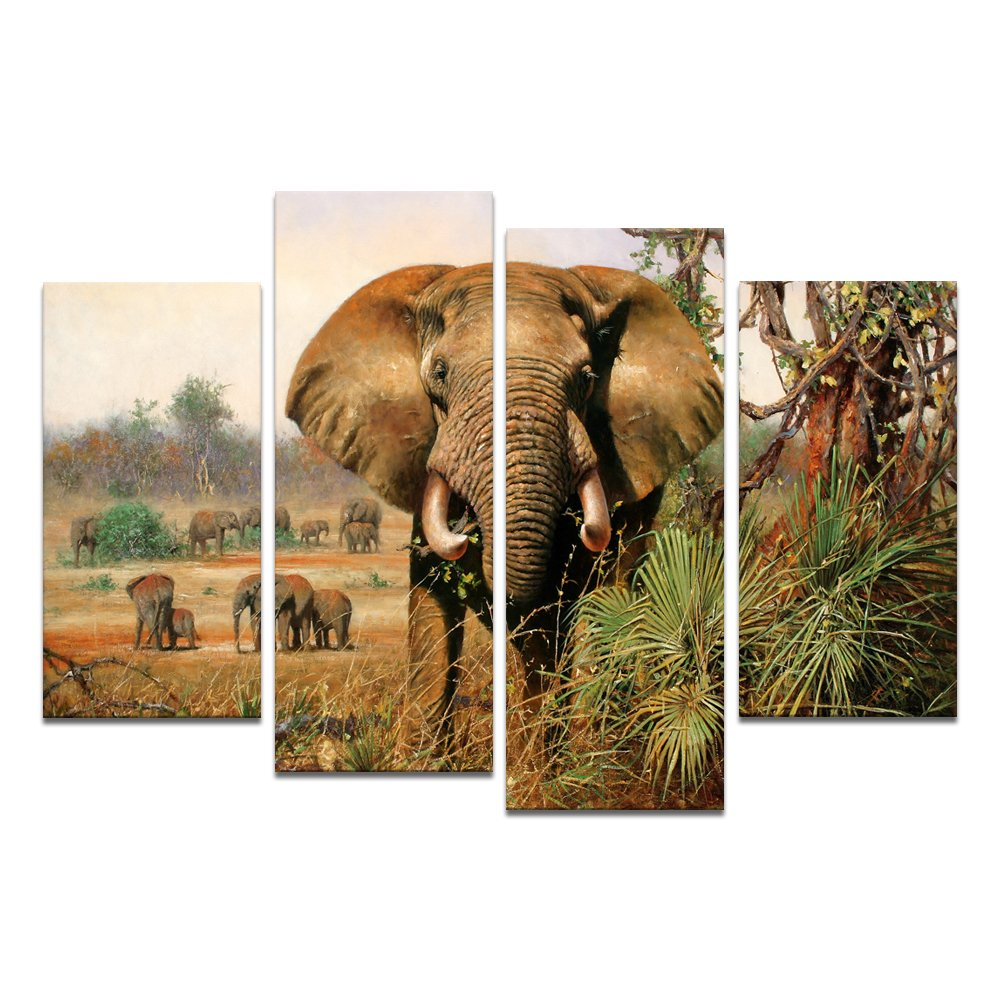 Amazon large size canvas wall art with frame giant african amazon large size canvas wall art with frame giant african elephant grassland canvas prints home decor gallery wrapped ready hang on amipublicfo Image collections
