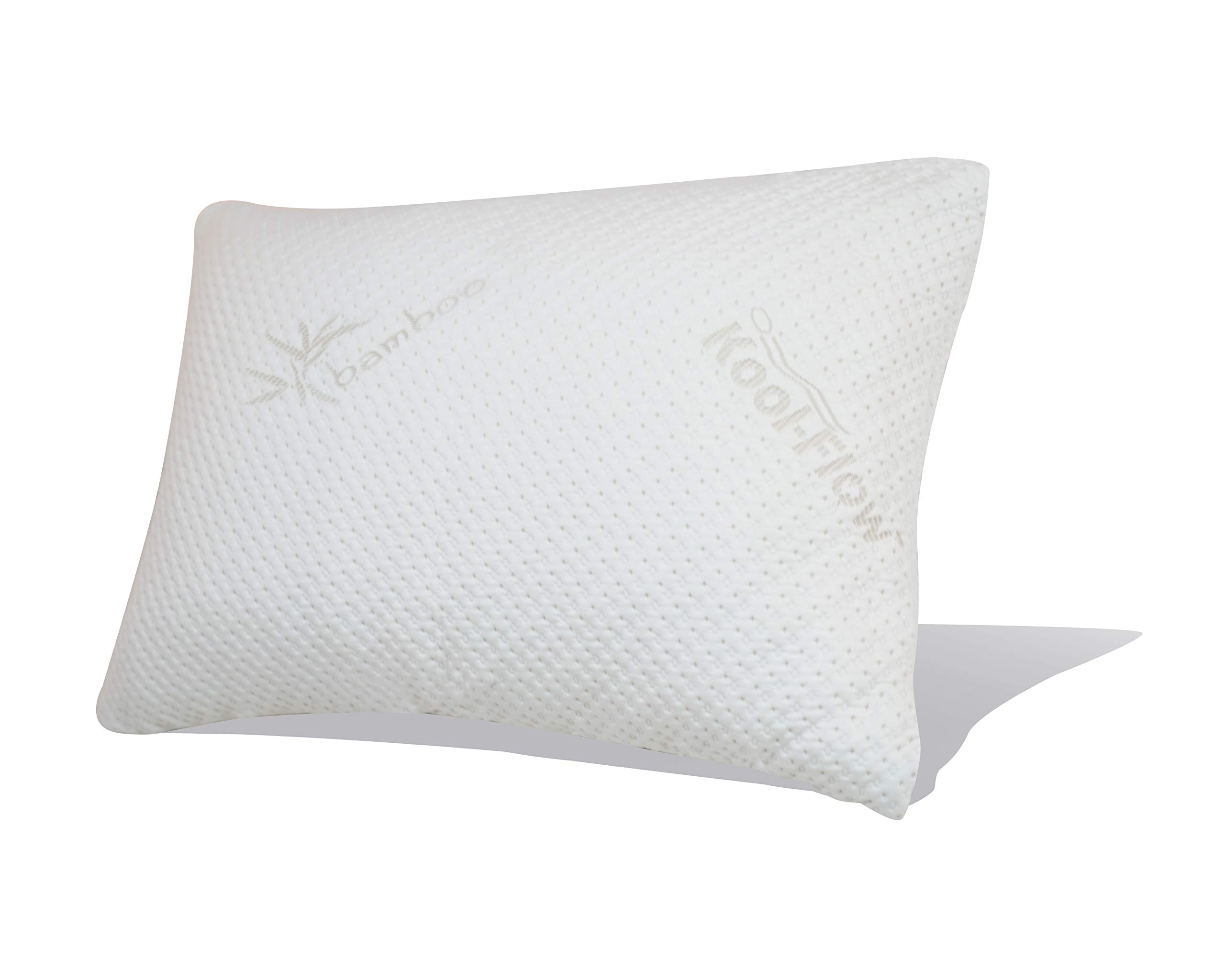 Snuggle-Pedic Original Ultra-Luxury Bamboo Shredded Memory Foam Combination Pillow With Best Breathable Kool-Flow Hypoallergenic Bed Pillow Outer Fabric Covering - Made In The USA - Queen (No Zippers)
