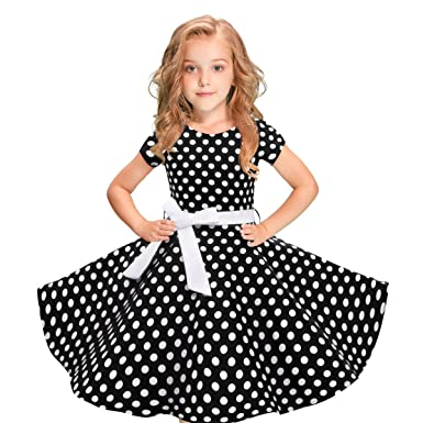 411ff3f1aa4 selina5858 Vintage Polka Dot Swing Girls Dress 1950s Retro Style Short  Sleeve Cotton Red Black 5T