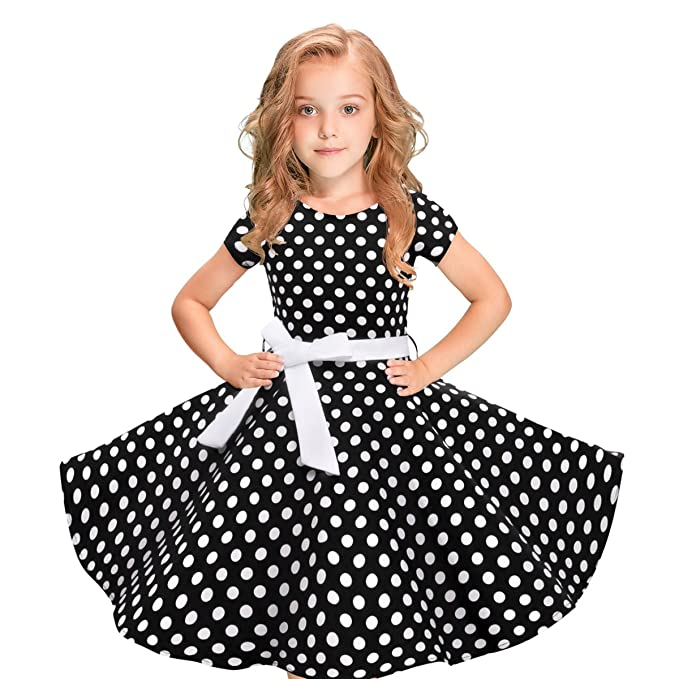 Vintage Polka Dot Swing Girls Dress 1950s Retro Style Cotton Red Black