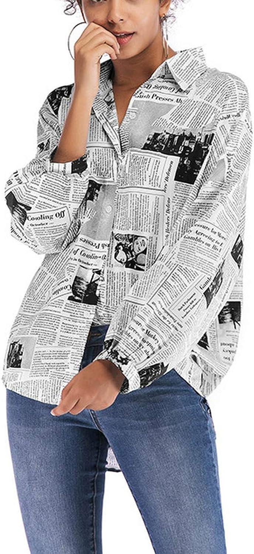 Bot/ón de impresi/ón de Manga Larga para Mujer Camiseta Holgada Top Casual Elegantes Blusa Delgado Sudadera Camiseta Primavera y Verano riou