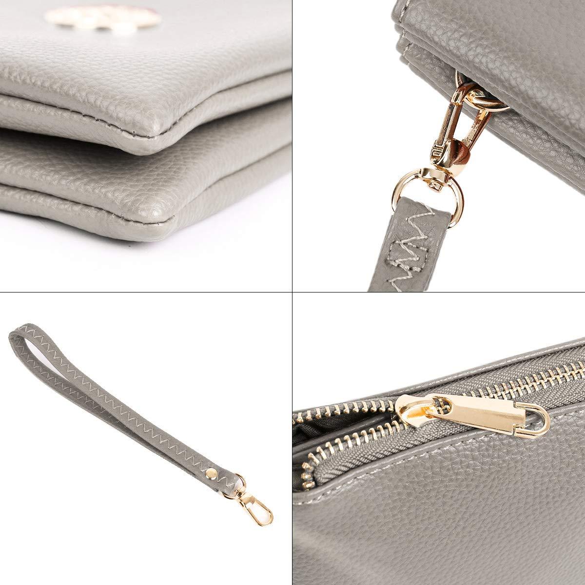 DSUK kvinnors liten flera fickor crossbody väska PU-läder axelväska med avtagbar rem Ljusgrå