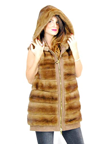 44 Dotted with horizontal mink fur and reindeer hood pelliccia visone pelz nerz норка fourrure vison