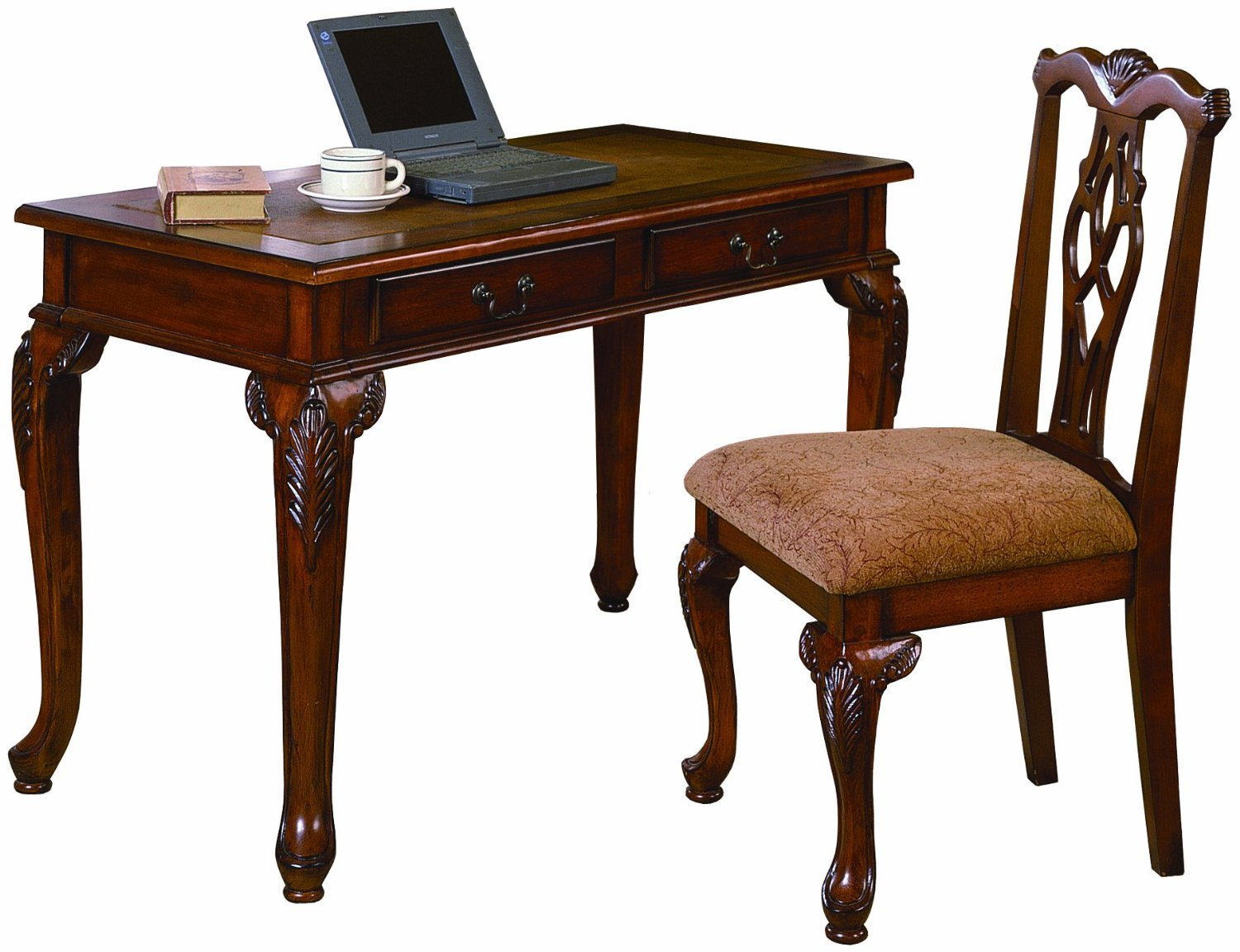 Amazon.com: 2pc Home Office Writing Desk & Side Chair Set: Kitchen ...