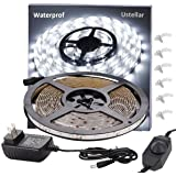 Ustellar Dimmable Waterproof LED Light Strip Kit, 300 Units SMD 2835 LEDs, 6000K Daylight White 12V LED Tape, Led Ribbon, 16.4ft/5m Lighting Strips with UL Listed Power Supply