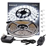 Amazon Price History for:Ustellar Dimmable Waterproof LED Light Strip Kit, 300 Units SMD 2835 LEDs, 6000K Daylight White 12V LED Tape, Led Ribbon, 16.4ft/5m Lighting Strips with UL Listed Power Supply