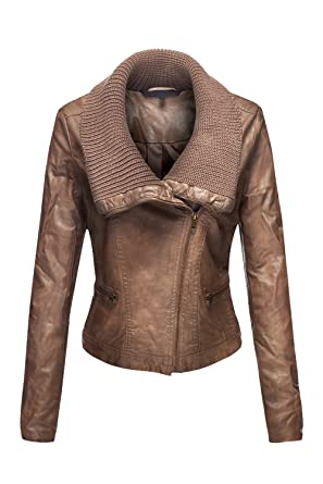 Luna Flower Women S Slim Fit Faux Shearling Collar Leather Jackets