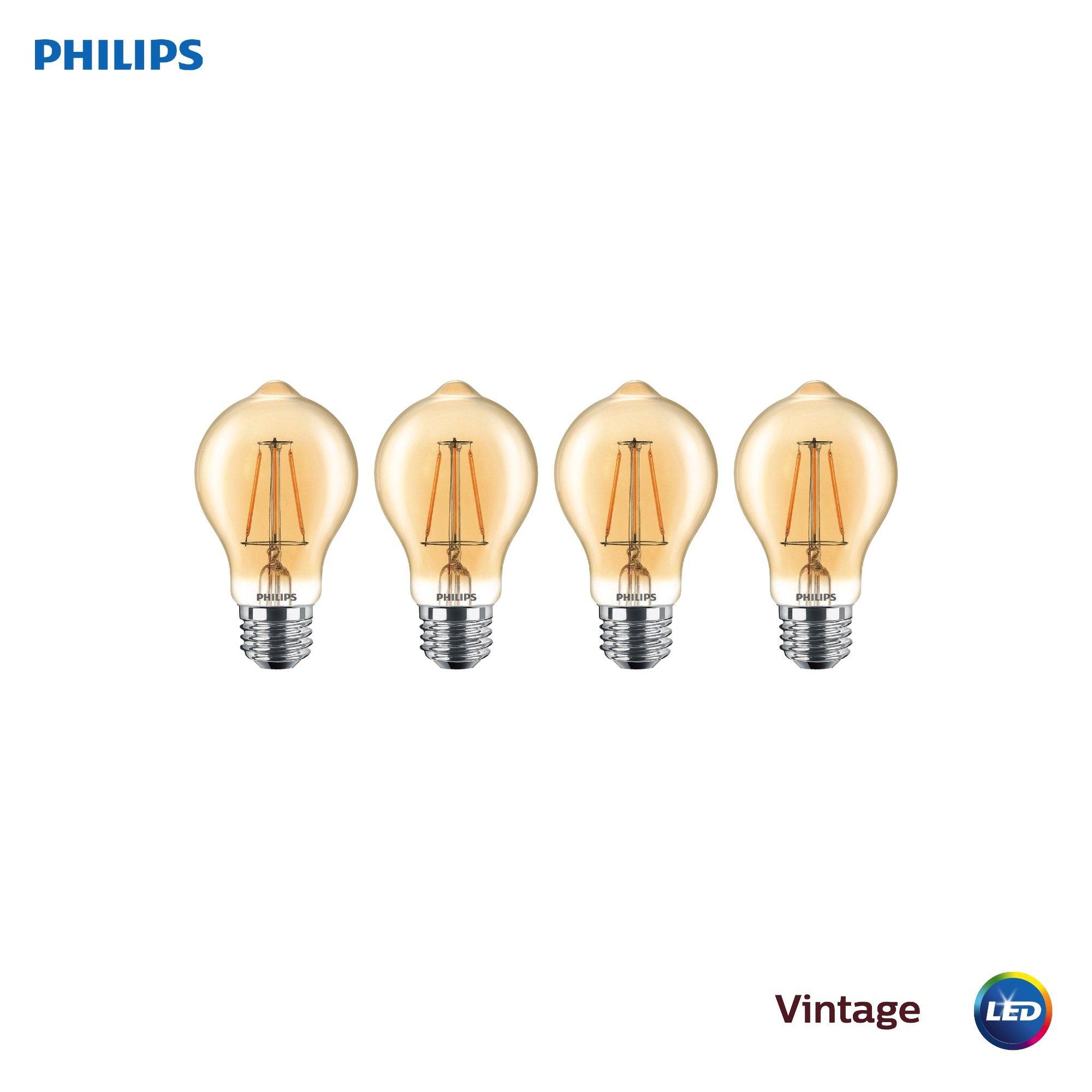 Phillips LED Dimmable A19 Light Bulb: 300-Lumen, 2200-Kelvin, 4.5-Watt (60-Watt Equivalent), E26 Base, Amber, Amber, 4-Pack