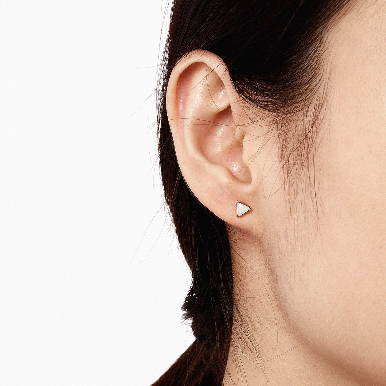 Ladies Fashion Triangular and Round Earrings AJIDOU Gold Plated Studs Earring Simple Geometric Earrings for Women