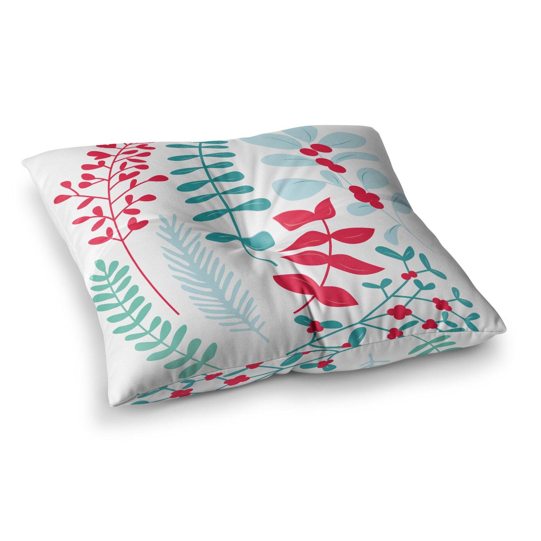 23 x 23 Square Floor Pillow Kess InHouse Kess Original Deck The Hollies Red Teal