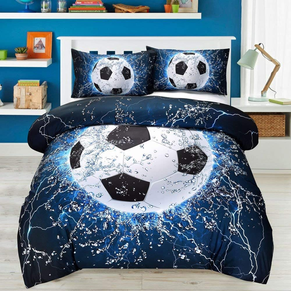 AMOR & AMORE 3D Blue Football Soccer Ball Bedding Sets Kids Twin Comforter, 3pc Microfiber Sports Bedding Men Boys Teens Soccer Comforter Sets (Twin) CX