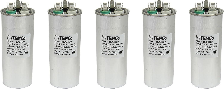 Lot-2 TEMCo 40+7.5 uf//MFD 370-440 VAC volts Round Dual Run Capacitor 50//60 Hz