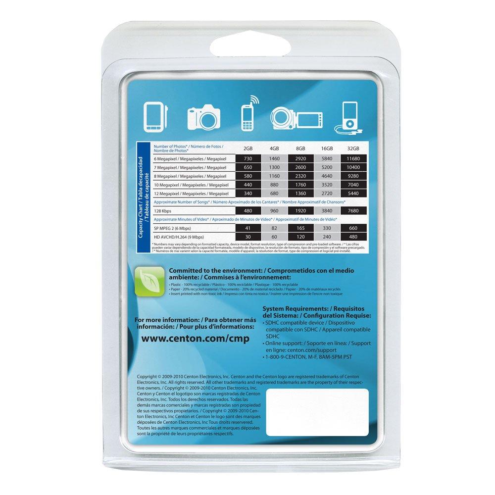 Centon 8 GB Micro SDHC Class 4 Flash Memory Card 8GBRSDHC4 (Black)