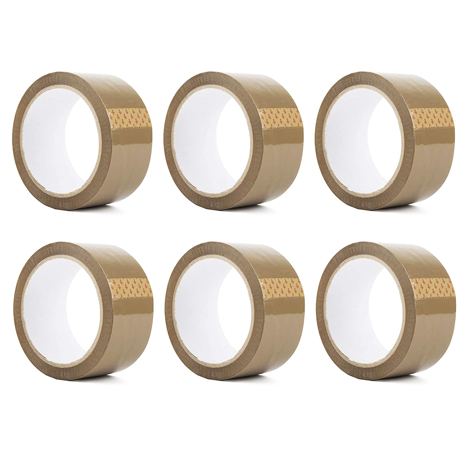 6 DARK BROWN//ROLL BUFF PARCEL PACKING TAPE CARTON SEALING 50mm X 66M