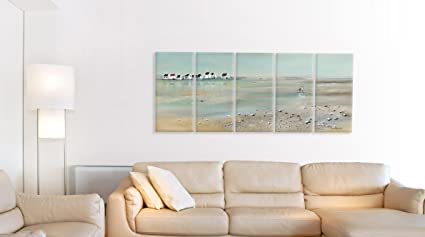 The Stupell Home Decor Collection Low-Tide Shoreline Beach Scene Pastel Wall Art Plaques on