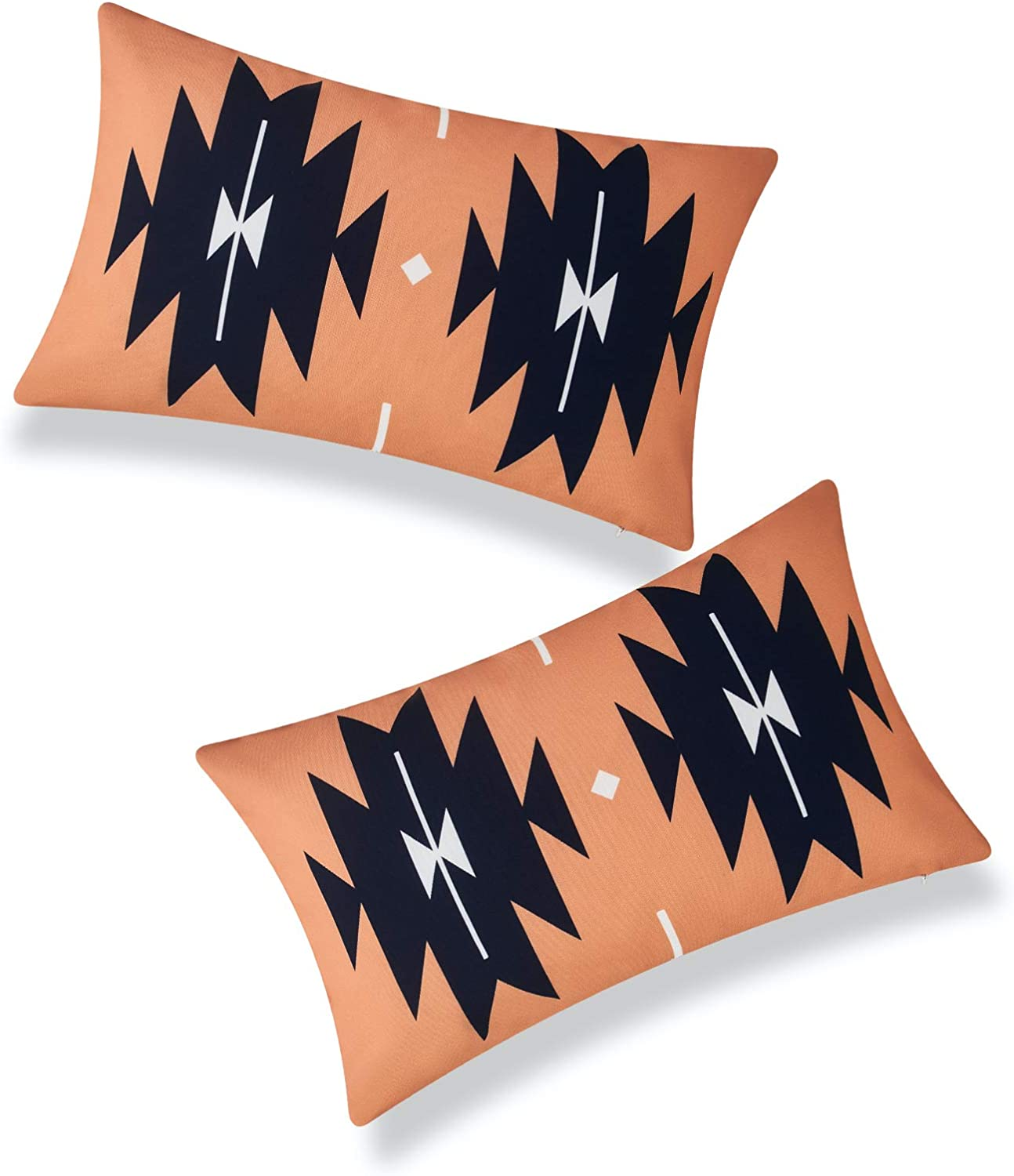 Hofdeco Modern Boho Patio Indoor Outdoor Lumbar Pillow Cover ONLY for Backyard, Couch, Sofa, Navy Blue Orange Aztec Triangles, 12