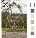 CLP Balancelle de jardin YLENIA dans un style nostalgique, 2 - 3 places, en fer laqué trés élégant, 6 couleurs au choix marron antique
