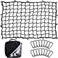 Seven Sparta 5' x 7' Bungee Cargo Net Stretches to 10' x 14' for Truck Bed, Pickup Bed, Trailer, Trunk, SUV with 16 Bonus D Clip Carabiners Universal Heavy Duty Car Rear Organizer Net