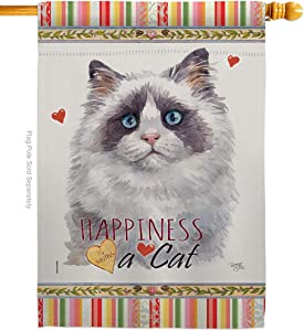 Breeze Decor Blue Bicolor Ragdoll Happiness House Cat Kitten Meow Spoiled Paw Fur Pet Nature Farm Animal Creature Flag-Decoration Banner Small Garden Yard Gift Double-Sided, Made in USA