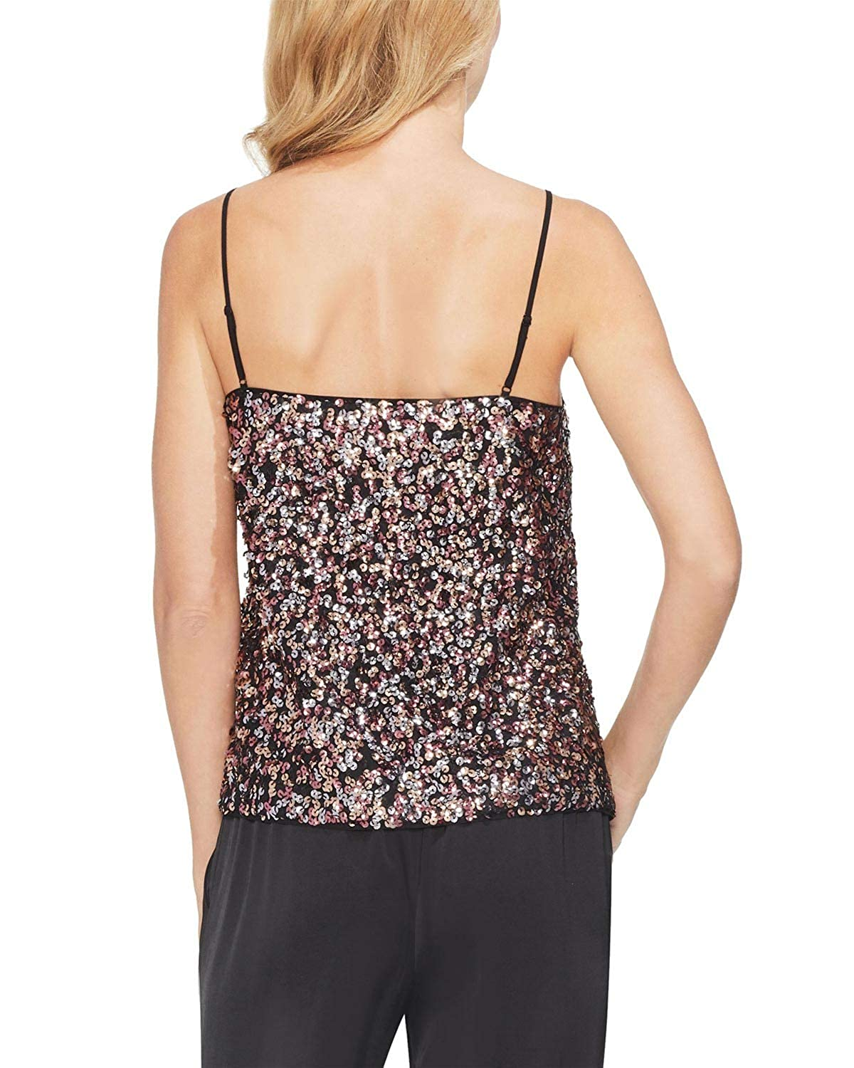 Vince Camuto Womens Sequined V-Neck Cami