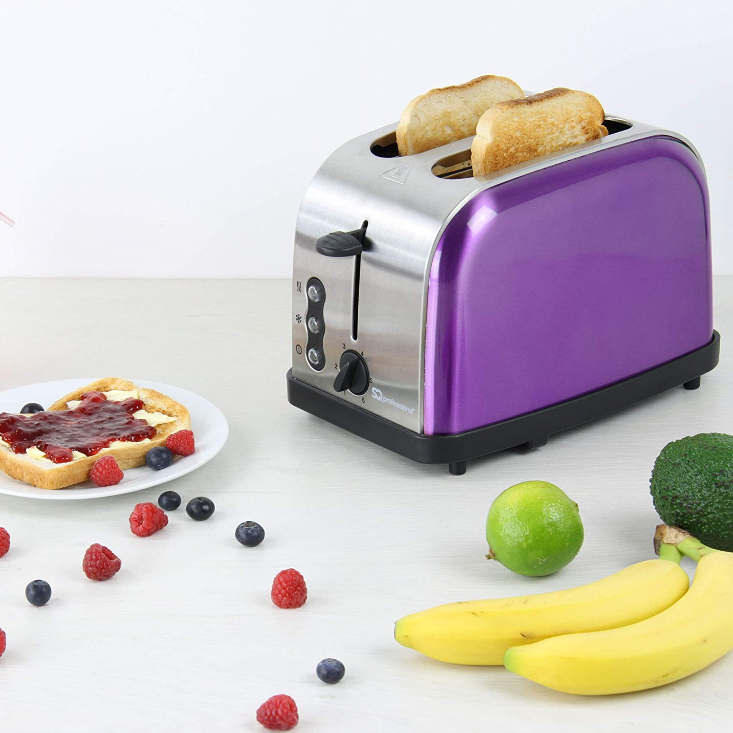 SQ Professional Legacy 900W 2 Slice Toaster, Purple