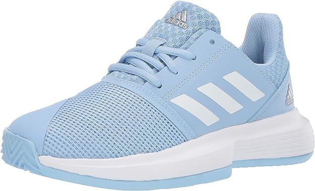 adidas Boy's CourtJam Basketball Shoe, Glow Blue/White/Silver Metallic, 6 Medium US Big Kid