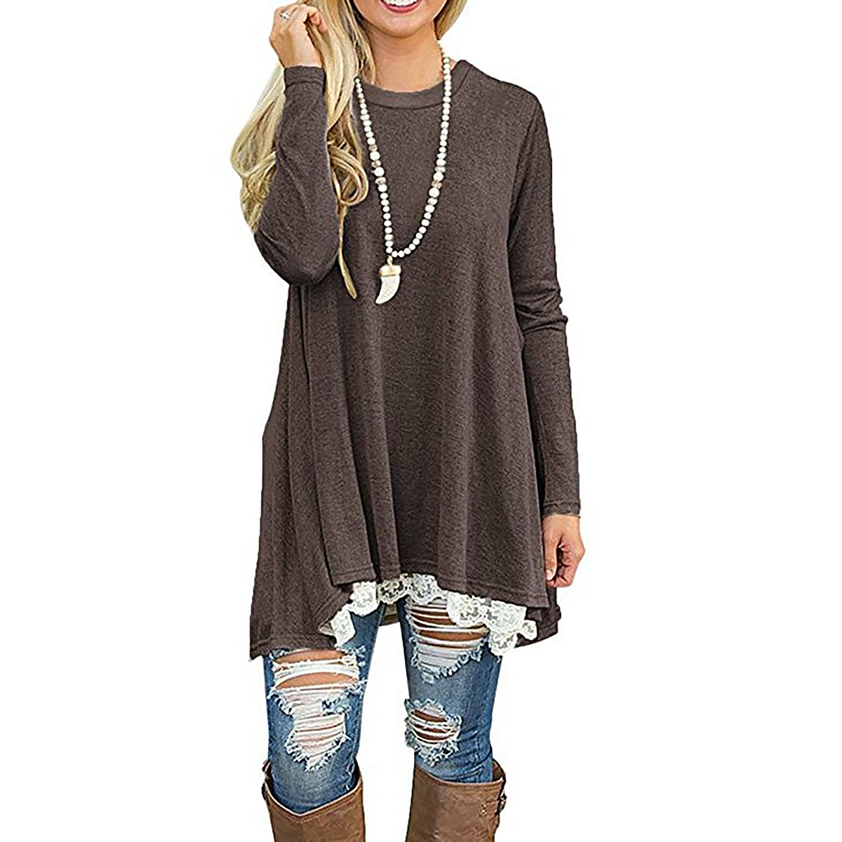 Women Solid Color Round Neck Long Sleeve Lace Casual Loose Tunic Blouse Top Yin Feng YF102401