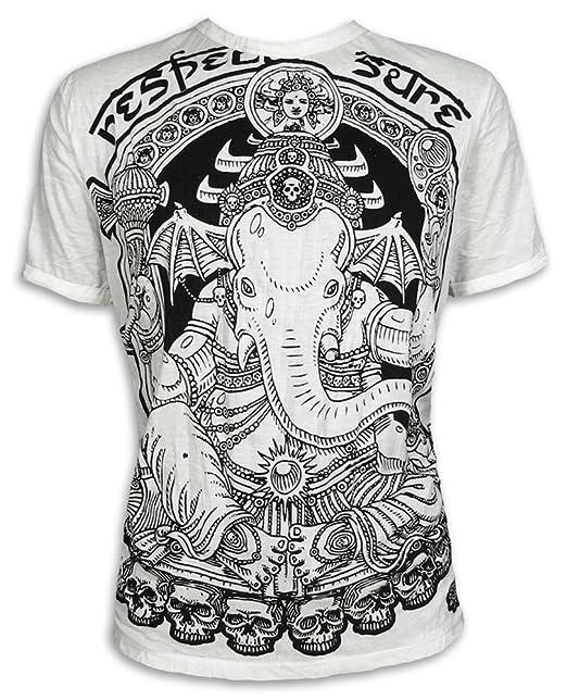 Sure Vintage - Camiseta para Hombre Ganesha Elefante Dios Shiva Om AUM AOM Goa PSY Trance M L Weiß - Vintage! L: Amazon.es: Ropa y accesorios