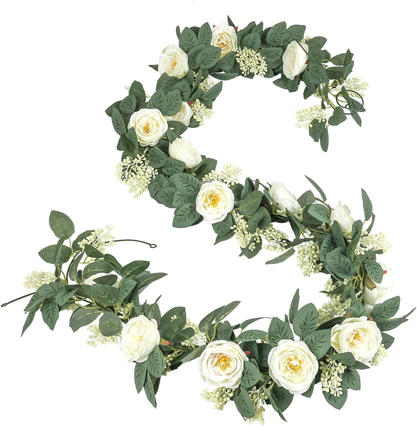 U'Artlines 2PCS(Total 13Ft) Artificial Rose Vine Garland Hanging Fake Rose Ivy Silk Flowers Greenery Plants for Wedding Backdrop Party Wall Home Decor (2pcs, Cream White)