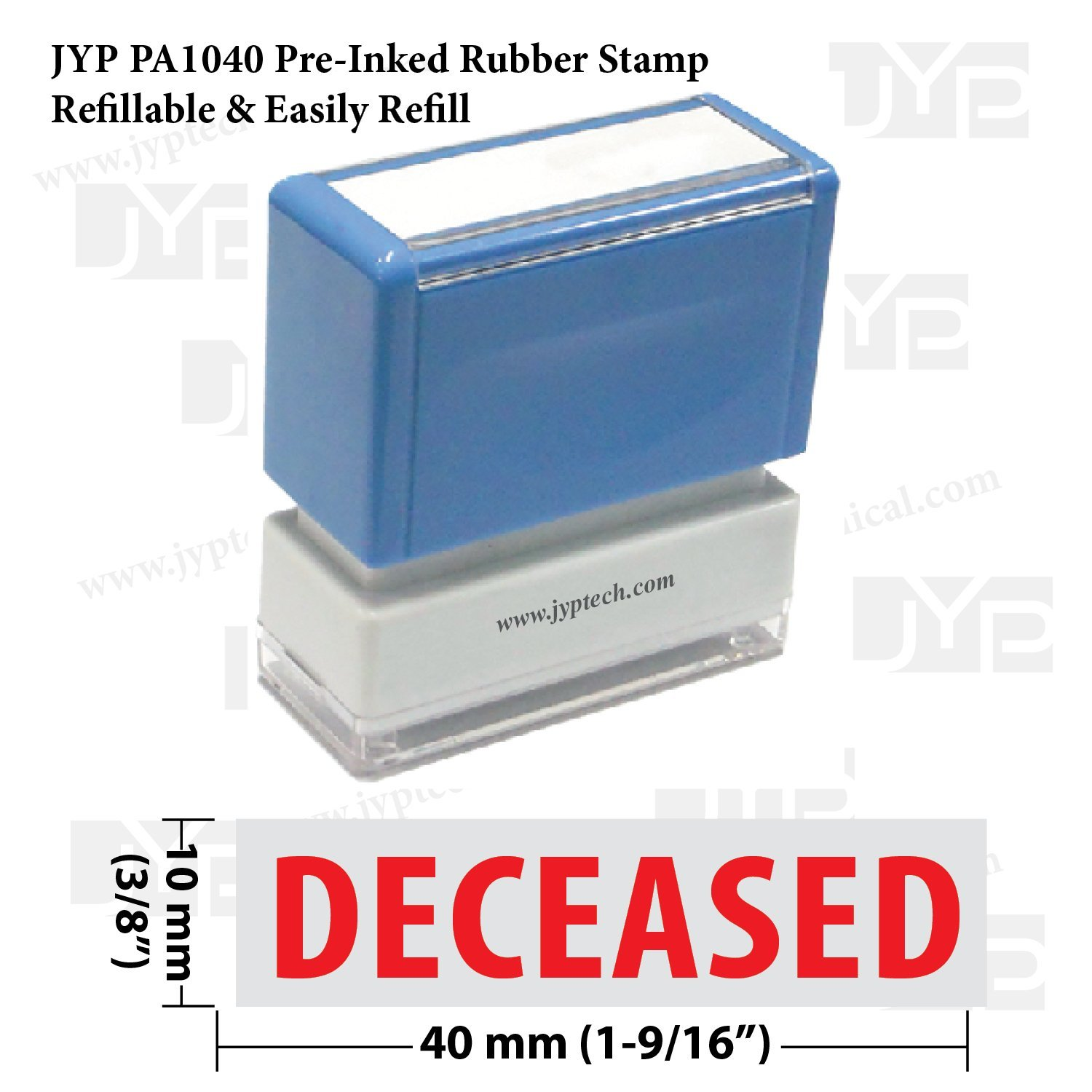 Amazon New JYP PA1040 Pre Inked Rubber Stamp W Deceased Office Products