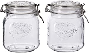 Mason Craft & More Clear Glass Clamp Jars, 1 Liter 2PK