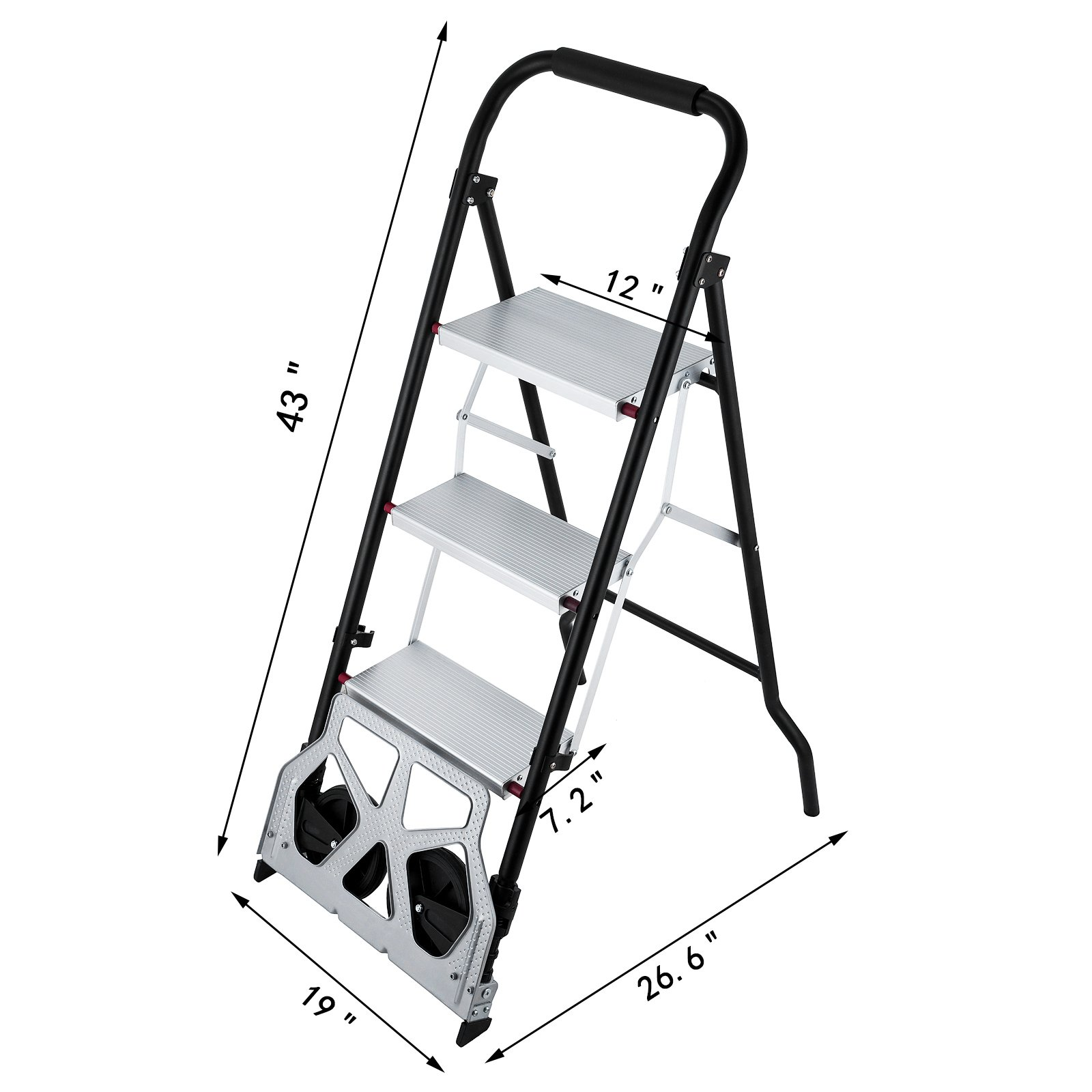 OrangeA 3-Steps Ladder Cart 2-in-1 Convertible Step Ladder Folding Hand Truck with Trolley by OrangeA (Image #9)