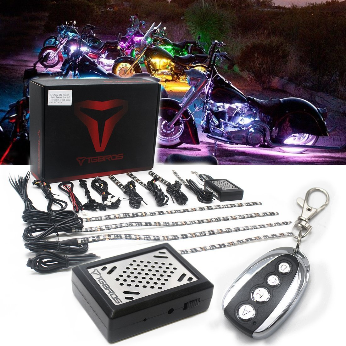BBUT 8PCS Muti-Colour Sound Activated Flash Motorcycle LED Accent Light Kit Under Glow RGB 5050 Strips For All Motorcycle, ATV, Boats TG-LAL02