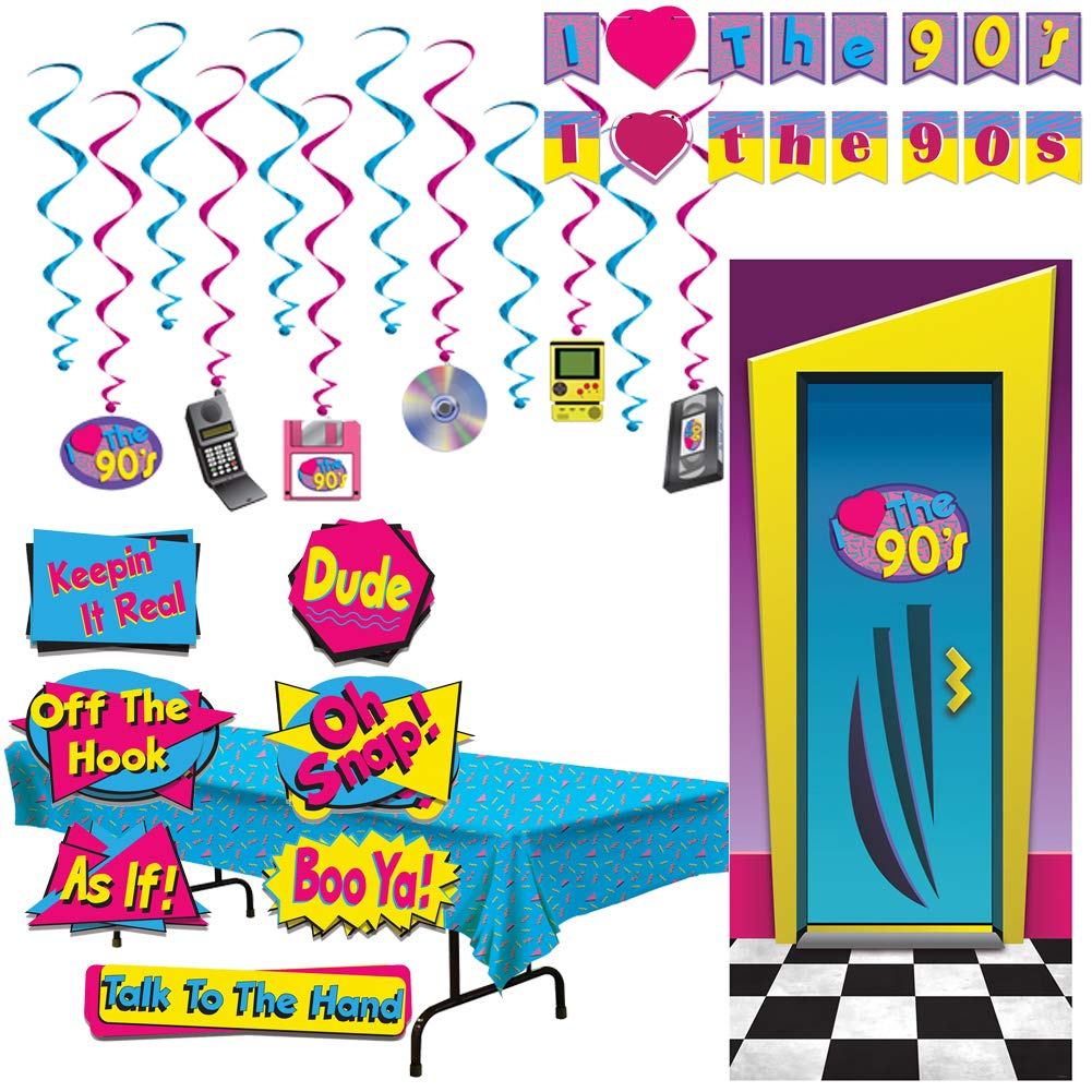 90's Theme Hip Hop Party Supplies Decorations Cut Outs Door Cover Tablecloth Whirls Banner Signs Set Kit Bundle